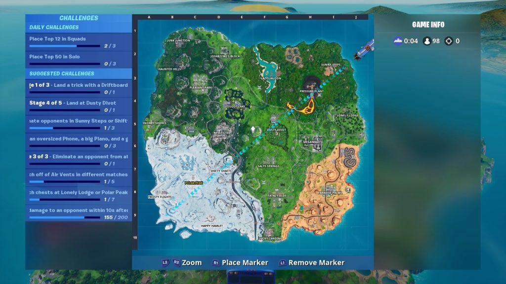 map of the Fornite island season 10