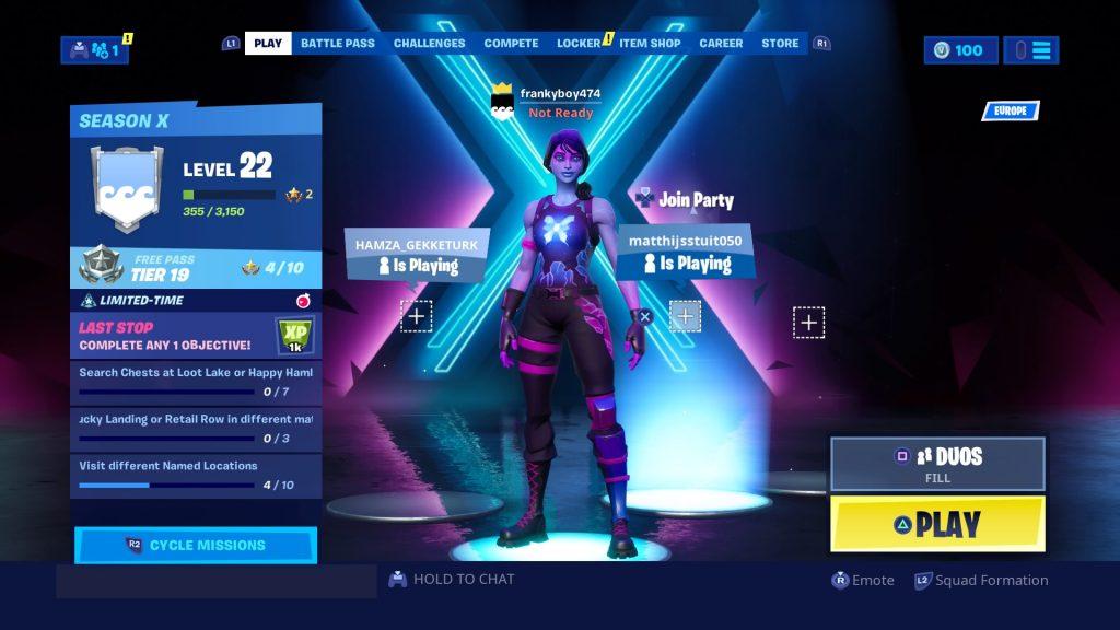 screenshot of fortnite lobby