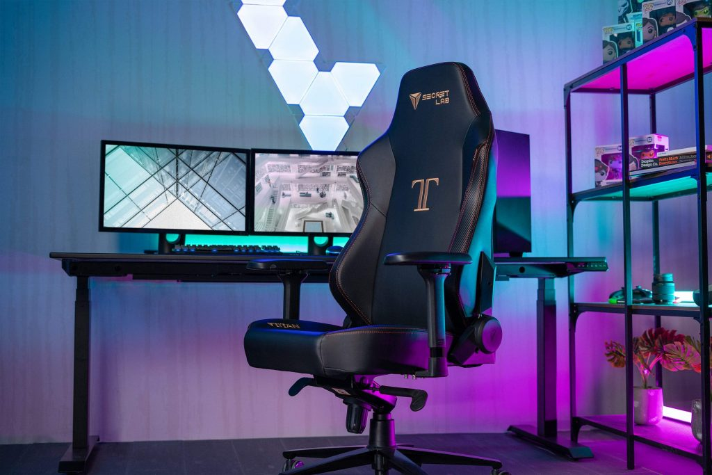 photo of a gaming chair in front of game pc