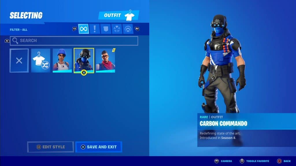 screenshot of selecting a fortnite outfit